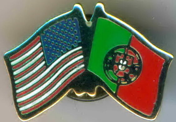 Portugal / USA Dual Flag Lapel / Hat Pin NEW