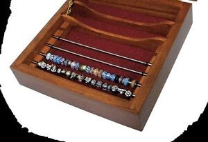 5 Rod Solid Cherry Amish Open Bead Storage Box (Stacks below 5 & 9 rod boxes)