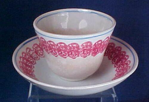 Antique Spongeware Handless Cup Saucer Red Blue