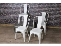 BRAND NEW - TOLIX STYLE CHAIRS CREAM/WHITE DINING ROOM KITCHEN x 4