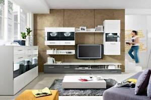 TV Entertainment unit storage set grey gloss 6pce  A8 Malaga Swan Area Preview