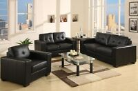 3 PIECE LEATHER SOFA, LOVE, CHAIR SET...BRAND NEW!! THREE COLORS