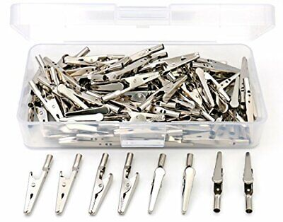 """iExcell 100 Pcs 2""""/51mm Steel Alligator Clips Crocodile Clamps Silver Tone"""