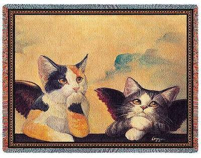 "CHERUB CATS ANGEL KITTY TAPESTRY AFGHAN BLANKET THROW 54"" x 70"" USA MADE!"