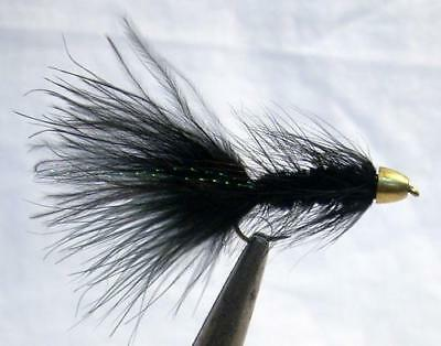 Lot of 6 Custom Angler Black Woolly Buggers Fly Fishing Flies Size 4