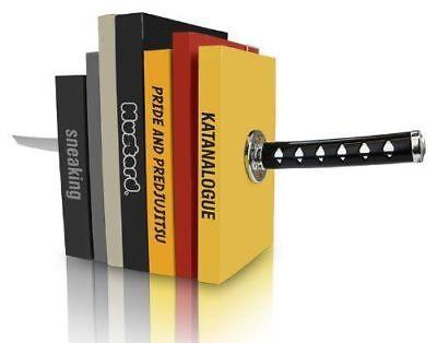 Novelty Katana Bookends - Magnetic Ninja Sword Decorative Bookshelf Ornaments uk