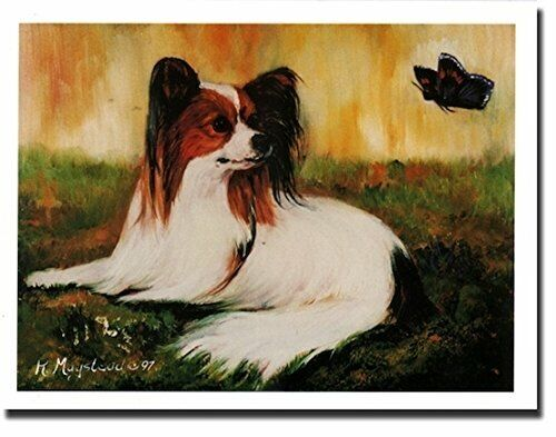 New Papillon Lying in Grass Notecards 6 Note Cards 6 Envelopes By Ruth Maystead