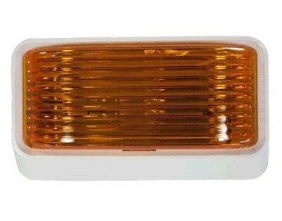 RV Motorhome Trailer Camper Porch Light White Housing with Amber Lens