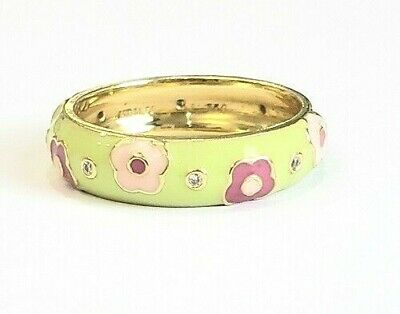 Hidalgo Botanical green pink flower Dia enamel 18ky gold 5mm ring sz 6.25 (Hidalgo Flower)