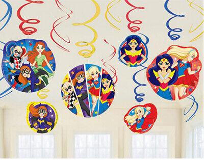 Wonder Woman Party Supplies (DC SUPER HERO GIRLS HANGING SWIRL DECORATION  party supplies 12pcs Wonder)