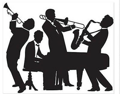 JAZZ BAND Scene Setter party wall backdrop 20's music silhouette mural 5' by 6'