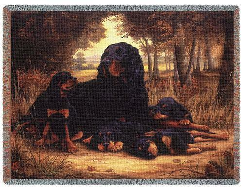 Throw Tapestry Afghan - Gordon Setter & Pups by Robert May 1141