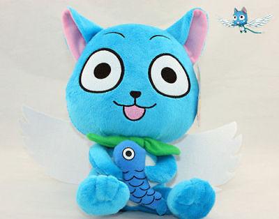 (Fairy Tail Plushie Blue Happy Cat Plush Doll 10