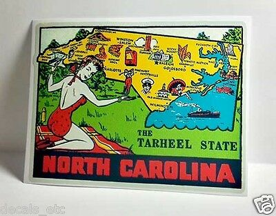 North Carolina Vintage Style Travel Decal / Vinyl  Sticker, Luggage Label