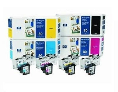 4 x HP Printer Head DesignJet 1050 1050C 415 3/8in / no. 80 BK/C/M/Y Printhead