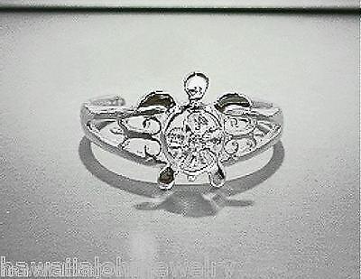 9mm 925 STER Silver Hawaiian Petroglyph Honu Turtle Plumeria White CZ Toe Ring