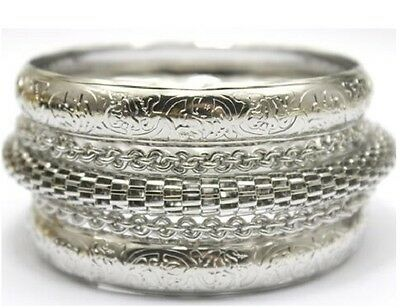 Sterling Silver Women's 5 Piece Set  Bangle Bracelet Set +Gift Pouch D267