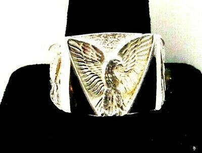 ONYX & EAGLE -  STERLING SILVER -  MEN'S RING Onyx Eagle Ring
