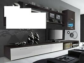 DELTA WENGE/WHITE GLOSS TV STAND UNITS INCLUDE SHELVES AND ONE RIGHT SIDE WALL UNIT