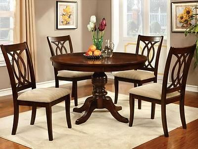 5 Piece Cherry Finish Wood - 5 Piece Round Formal Dining Set Table and 4 Chairs Kitchen Room Cherry Finish