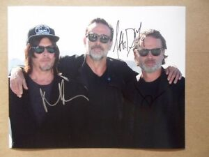 Andrew Lincoln, Norman Reedus, Jeffrey Dean Morgan Signed -Autographed Photo