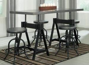 NEW 5 Piece Dining Table Set Adjustable Height And 4 Swivel Stools 595