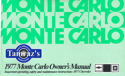 1977 77 Monte Carlo Owners Manual Free Shipping