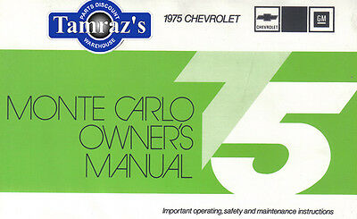 1975 75 Monte Carlo Owners Manual