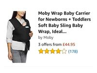 Moby wrap baby carrier in black