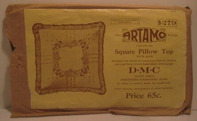 Old 1920s ARTAMO Sewing Needlepoint Embroidery Pattern in PKG Floral Pillow Top