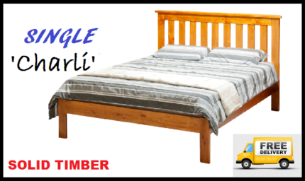 Brand New SINGLE Size Solid Timber Bed Frame FREE DELIVERY
