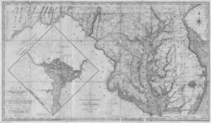 Chesapeake Bay Topographic Map.Chesapeake Bay Map Ebay