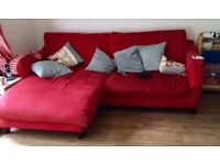 Red chaise sofas (L-shape) x2