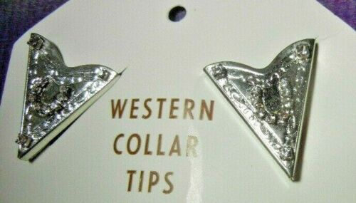 Western silver horseshoe jacket collar tips - line dancing show ring