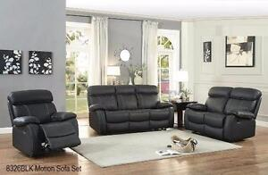 GENUINE LEATHER MATCH 2PC RECLINING SOFA AND CHAIR WITH WHITE CONTRAST STICHING MODEL 8326 $2,099.00SAVE $1,100