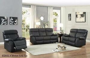 GENUINE LEATHER MATCH 2PC RECLINING SOFA AND CHAIR WITH WHITE CONTRAST STICHING MODEL 8326 $2,099.00 SAVE $1,100