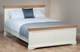 """Natural Oak and Painted 4ft 6"""" Double Bed, Natural Oak and Painted Bedside Table x 2,"""