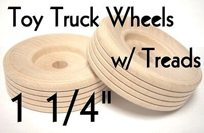 """1 1/4"""" Wood Truck Wheels w/ Wooden Treads ~ Toy Parts ~ Lot"""