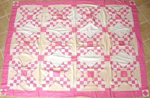PINK & WHITE TOUCHING STARS ANTIQUE QUILT TOP c 1930s