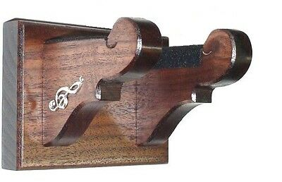 Walnut Wood Banjo Hanger Classy Wall Mount Display with Brass Treble Clefs