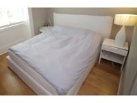 King size bed with mattress and side tables