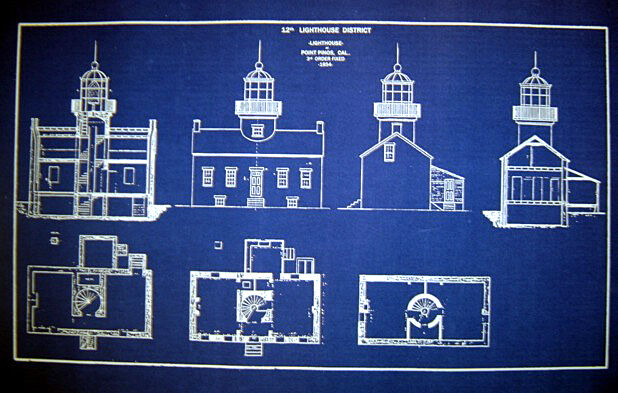 "LIGHTHOUSE Point Pinos California 1854  Blueprint Plan 15"" x 26"" (228)"