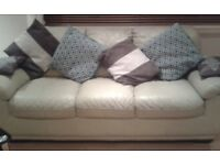 Cream leather Suite 3+2 *FREE DELIVERY*