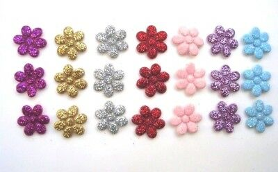 70 Sparkly Glitter Small Cute Flower Applique/gold/pink/red/silver/purple H110