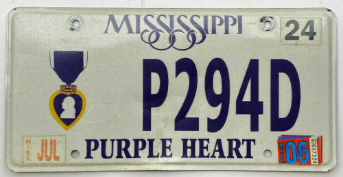 "MISSISSIPPI ""PURPLE HEART"" LICENSE PLATE"