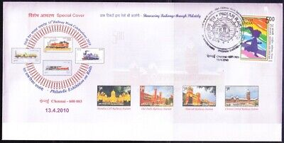 Train, Railways on Stamps, Special Cover 2010 India Pictorial cancel B