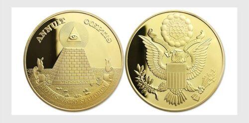 Annuit Coeptis Challenge Commemorative Coin, Masonic, Novus Ordo Seclorum, Gold