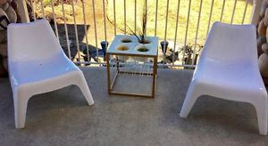 -2 Ikea outdoor chairs and side table with plant pots