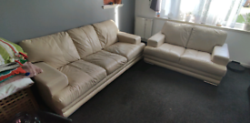 Cream leather 2 and 3 seater. Decent.£35