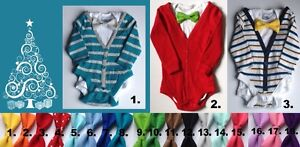 Baby boy onesie cardigans with tie for Christmas, 18-24 months